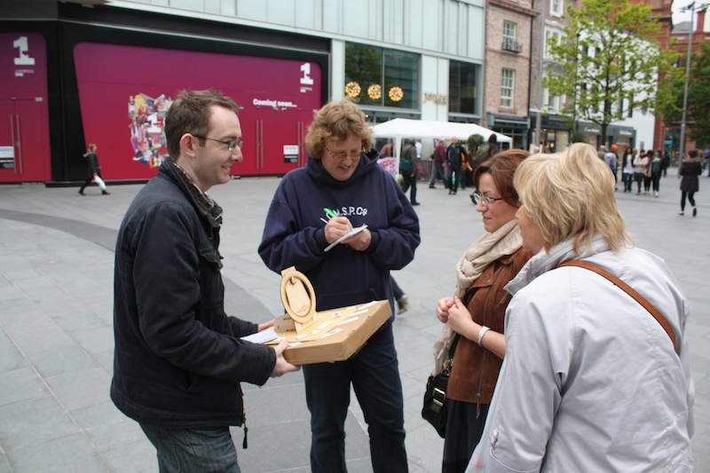 John shows off the WhereDial at Liverpool One